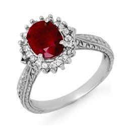 2.75 CTW Ruby & Diamond Ring 18K White Gold - REF-69X3T - 12727