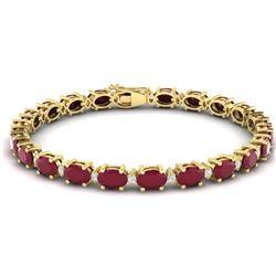 23.5 CTW Ruby & VS/SI Certified Diamond Eternity Bracelet 10K Yellow Gold - REF-143T6M - 29376