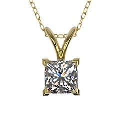 0.50 CTW Certified VS/SI Quality Princess Diamond Necklace 10K Yellow Gold - REF-79K5W - 33168