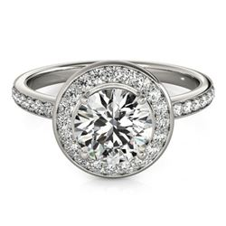 1.08 CTW Certified VS/SI Diamond Solitaire Halo Ring 18K White Gold - REF-200N2Y - 26985