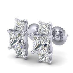 3.08 CTW Princess VS/SI Diamond Art Deco Stud Earrings 18K White Gold - REF-668F2N - 37199