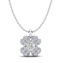 0.27 CTW Micro Pave VS/SI Diamond Necklace 18K White Gold - REF-34M2H - 20351