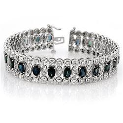 18.50 CTW Blue Sapphire & Diamond Bracelet 14K White Gold - REF-440X9T - 11719