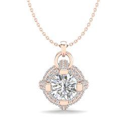 1.57 CTW VS/SI Diamond Micro Pave Stud Necklace 18K Rose Gold - REF-229M3H - 36954