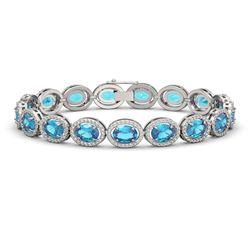24.32 CTW Swiss Topaz & Diamond Halo Bracelet 10K White Gold - REF-252M8H - 40634