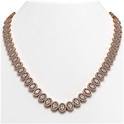 42.56 CTW Oval Diamond Designer Necklace 18K Rose Gold - REF-7835N8Y - 42813