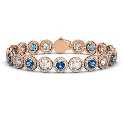 15.35 CTW Blue & White Diamond Designer Bracelet 18K Rose Gold - REF-3455W5F - 42681