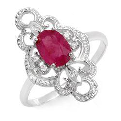 1.35 CTW Ruby & Diamond Ring 10K White Gold - REF-18W9F - 12488
