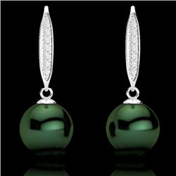 0.18 CTW Micro VS/SI Diamond & Peacock Pearl Earrings 18K White Gold - REF-34Y5K - 22635