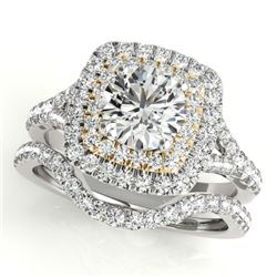 1.82 CTW Certified VS/SI Diamond 2Pc Set Solitaire Halo 14K White & Yellow Gold - REF-408W5F - 30704