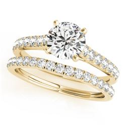 1.38 CTW Certified VS/SI Diamond Solitaire 2Pc Wedding Set 14K Yellow Gold - REF-152A9X - 31699