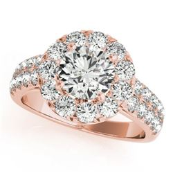 1.52 CTW Certified VS/SI Diamond Solitaire Halo Ring 18K Rose Gold - REF-179A3X - 26435