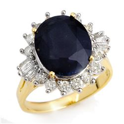 8.99 CTW Blue Sapphire & Diamond Ring 14K Yellow Gold - REF-141A8X - 12917