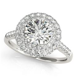 1.5 CTW Certified VS/SI Diamond Solitaire Halo Ring 18K White Gold - REF-229W5F - 26452