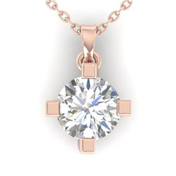 1 CTW Certified VS/SI Diamond Solitaire Necklace 14K Rose Gold - REF-284A8X - 30403