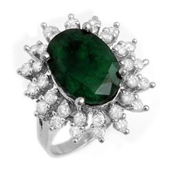6.45 CTW Emerald & Diamond Ring 18K White Gold - REF-132K9W - 13289