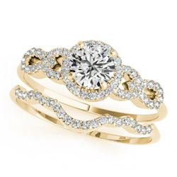 1.18 CTW Certified VS/SI Diamond Solitaire 2Pc Wedding Set 14K Yellow Gold - REF-197K8W - 31993
