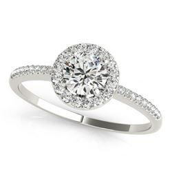 0.75 CTW Certified VS/SI Diamond Solitaire Halo Ring 18K White Gold - REF-110W5F - 26347