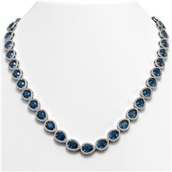 35.13 CTW London Topaz & Diamond Halo Necklace 10K White Gold - REF-602A8X - 41078