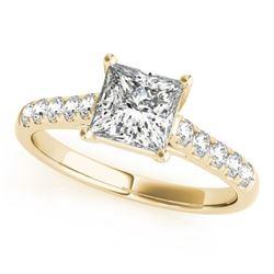 1.3 CTW Certified VS/SI Princess Diamond Ring 18K Yellow Gold - REF-371N5Y - 28118