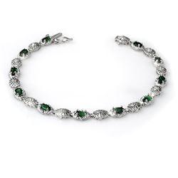 2.62 CTW Emerald & Diamond Bracelet 14K White Gold - REF-60F2N - 14130
