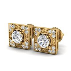 1.63 CTW VS/SI Diamond Solitaire Art Deco Stud Earrings 18K Yellow Gold - REF-254K5W - 37270