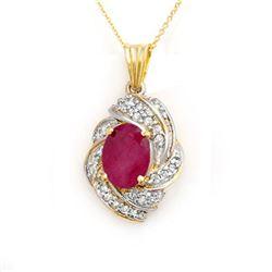 3.87 CTW Ruby & Diamond Pendant 14K Yellow Gold - REF-85K5W - 14361