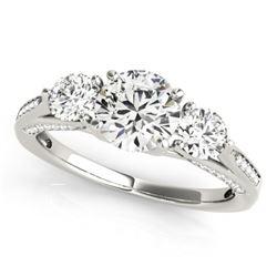 1.75 CTW Certified VS/SI Diamond 3 Stone Ring 18K White Gold - REF-427T3M - 27990