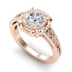 1 CTW VS/SI Diamond Solitaire Art Deco Ring 18K Rose Gold - REF-318T3M - 36873
