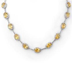 37.0 CTW Citrine & Diamond Necklace 14K White Gold - REF-263T6M - 10065