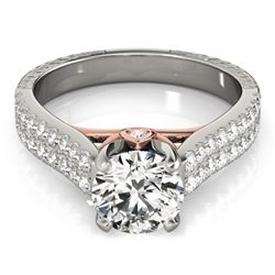 1.61 CTW Certified VS/SI Diamond Pave Ring 18K White & Rose Gold - REF-402K2W - 28100