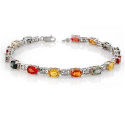 11.0 CTW Multi-Color Sapphire Bracelet 10K White Gold - REF-69Y3K - 11681