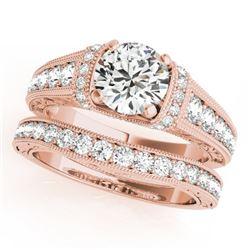 1.61 CTW Certified VS/SI Diamond Solitaire 2Pc Wedding Set Antique 14K Rose Gold - REF-238X2T - 3154