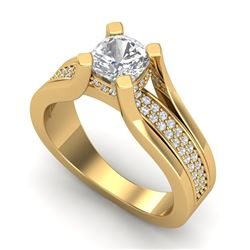 1.7 CTW Cushion VS/SI Diamond Solitaire Micro Pave Ring 18K Yellow Gold - REF-472Y8K - 37165