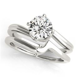 1 CTW Certified VS/SI Diamond Bypass Solitaire 2Pc Wedding Set 14K White Gold - REF-353X8T - 31772
