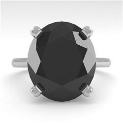9.0 CTW Oval Black Diamond Engagement Designer Ring 14K White Gold - REF-202Y5K - 38482