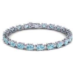 25.8 CTW Sky Blue Topaz & VS/SI Certified Diamond Eternity Bracelet 10K White Gold - REF-118H4A - 29