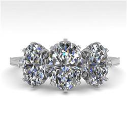 2 CTW Solitaire Past Present Future VS/SI Oval Cut Diamond Ring 18K White Gold - REF-414F2N - 35781