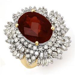 13.25 CTW Pink Tourmaline & Diamond Ring 14K Yellow Gold - REF-468K5W - 14208
