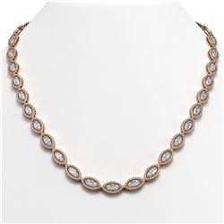 28.12 CTW Marquise Diamond Designer Necklace 18K Rose Gold - REF-5219T3M - 42741