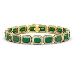 26.21 CTW Emerald & Diamond Halo Bracelet 10K Yellow Gold - REF-368Y8K - 41380