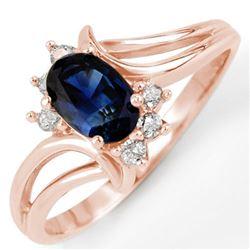 0.70 CTW Blue Sapphire & Diamond Ring 14K Rose Gold - REF-22K8W - 10448