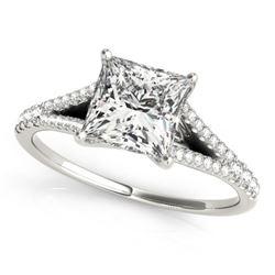 0.81 CTW Certified VS/SI Princess Diamond Solitaire Ring 18K White Gold - REF-121W3F - 27942