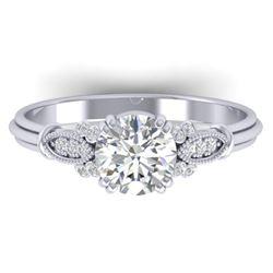 1.15 CTW Certified VS/SI Diamond Solitaire Art Deco Ring 14K White Gold - REF-281T8M - 30549