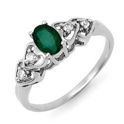 0.57 CTW Emerald & Diamond Ring 18K White Gold - REF-30X8T - 12583