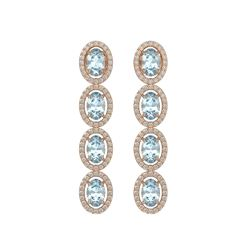 4.68 CTW Aquamarine & Diamond Halo Earrings 10K Rose Gold - REF-115A6X - 40527