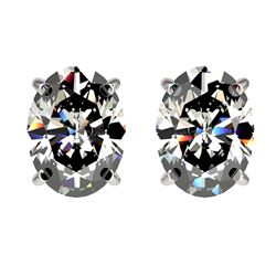2.50 CTW Certified VS/SI Quality Oval Diamond Stud Earrings 10K White Gold - REF-840T2M - 33111
