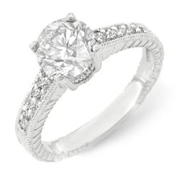 1.05 CTW Certified VS/SI Diamond Solitaire Ring 14K White Gold - REF-180K9W - 14075
