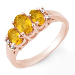 1.39 CTW Yellow Sapphire & Diamond Ring 14K Rose Gold - REF-35F3N - 10328
