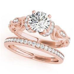 1.15 CTW Certified VS/SI Diamond Solitaire 2Pc Wedding Set Antique 14K Rose Gold - REF-210X2T - 3147
